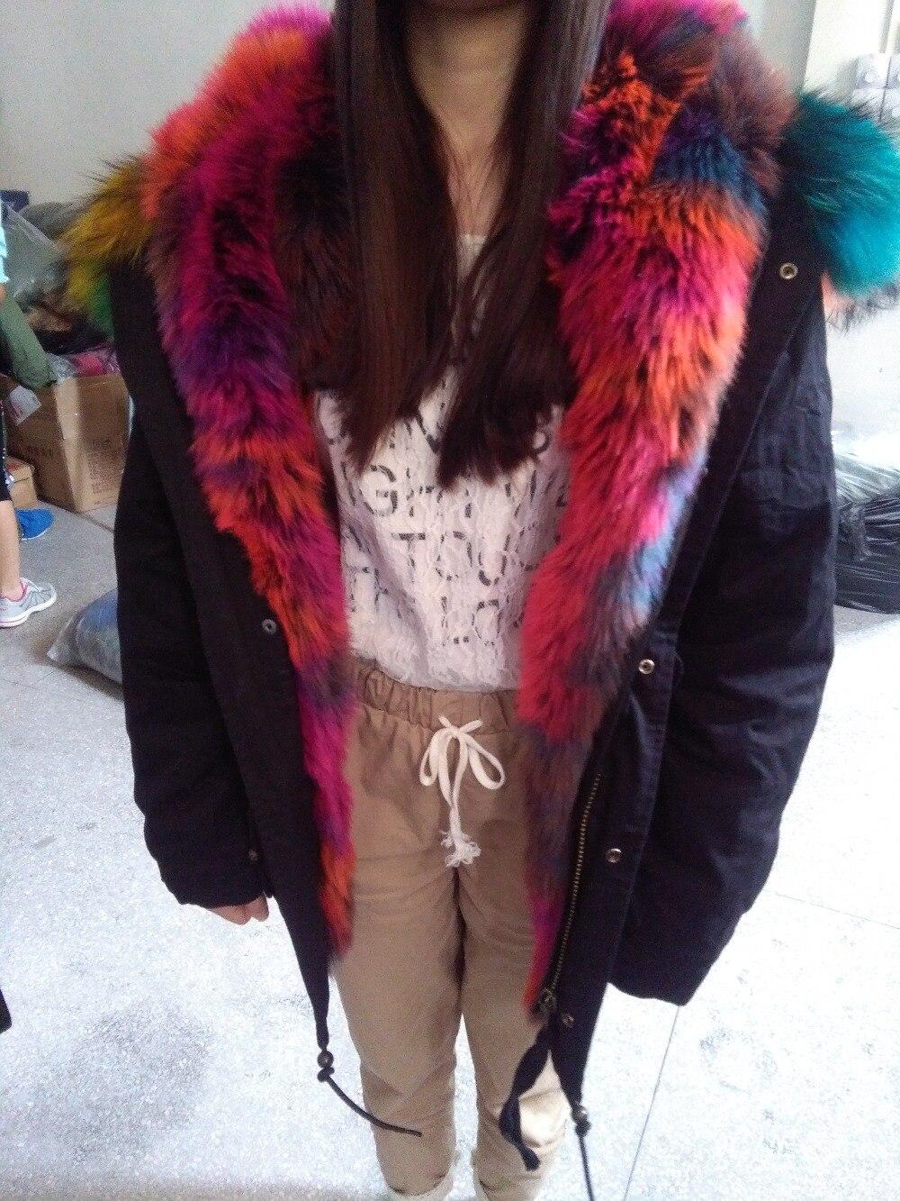 Black/Army Fur Parka,long style mulitcolor fashion women winter ...