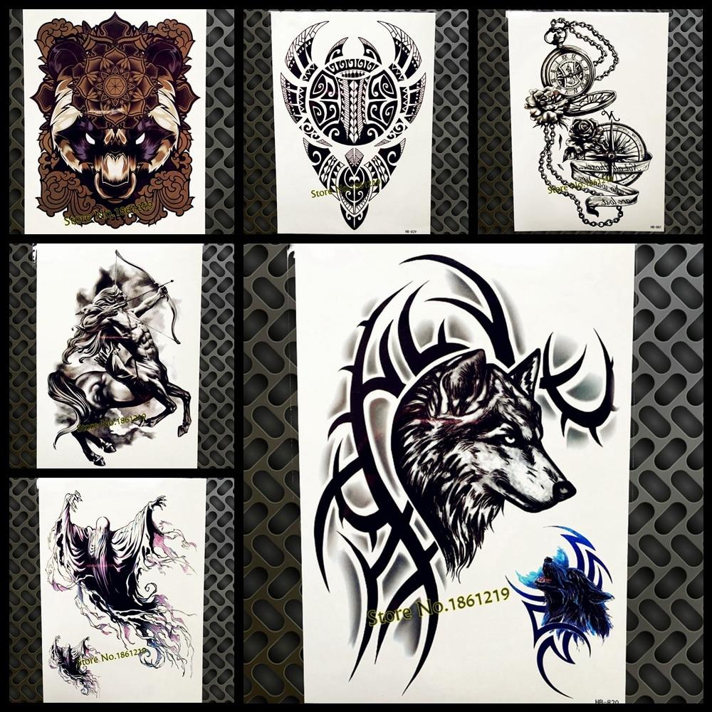 US $0 86 8% OFF New Arrival Black Sickle Totem Wolf Tattoo For Men Women  Arm Leg Fake Tatoo 21x15cm Waterproof Body Art Temporary Tattoo Sticker-in