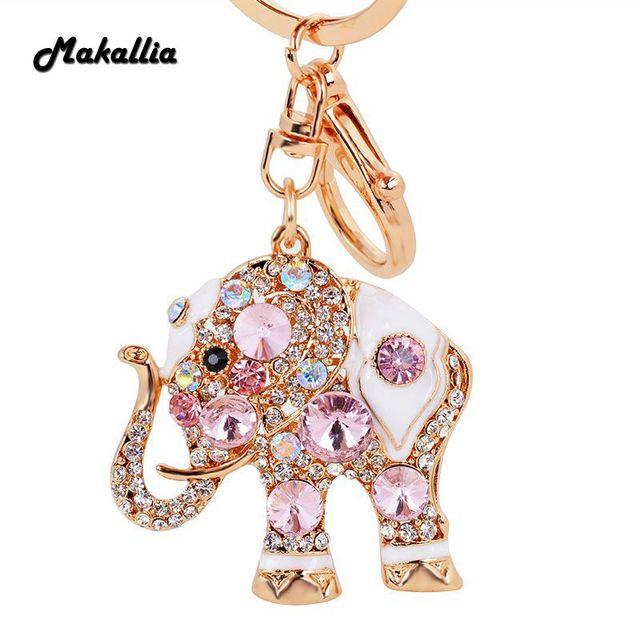 97476b6dc979 2018 new fashion high quality creative small gifts popular key chain alloy  crystal elephant pendant girls bag ornaments