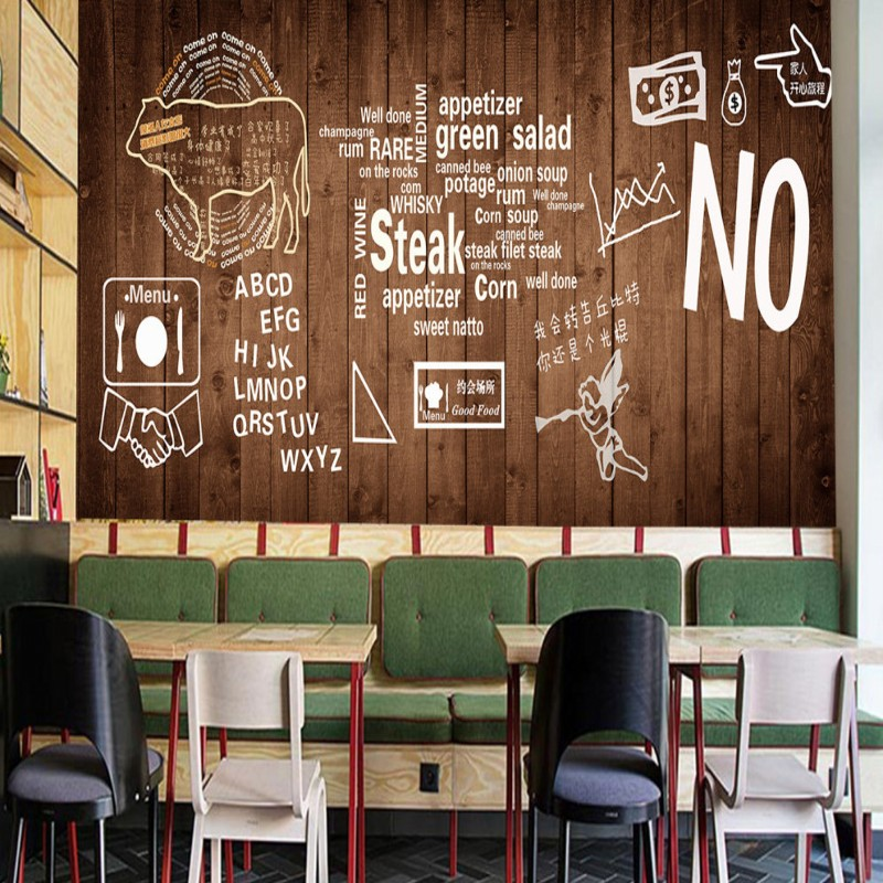 wallpaper 3d Custom Wooden steak barbecue grill cooking shop background decoration wall mural restaurant wallpaper mastering barbecue