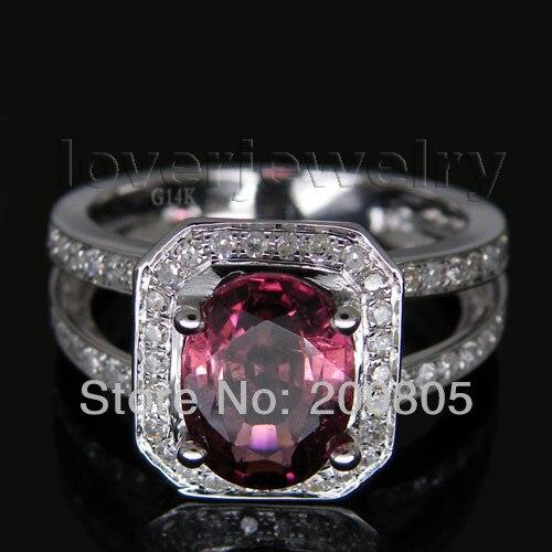 Новое однотонное овальное обручальное кольцо с бриллиантами из белого золота 14 к 7x9 мм 3,26 карат с розовым турмалином