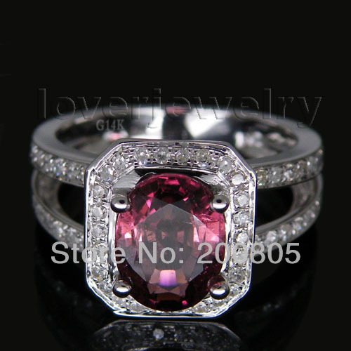New Solid Oval 7x9mm 14Kt White Gold 3.26Ct Pink Tourmaline Diamond Wedding Ring jenni new pink solid ruffled chemise l $39 5 dbfl