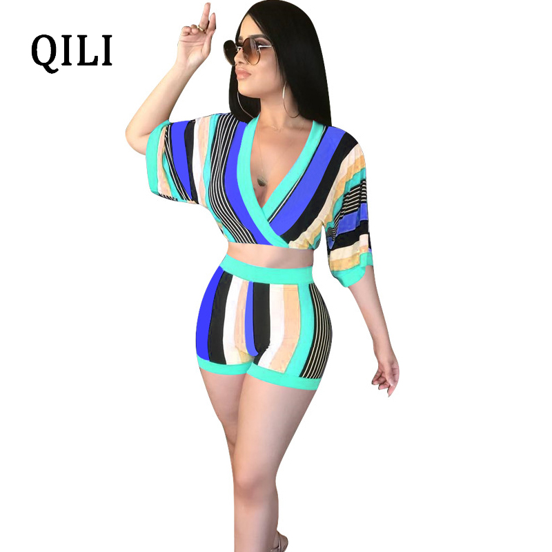 QILI Plus Size Rompers Jumpsuit Women Striped Half Sleeve Two Piece Set Sexy Overalls Fashion Casual Party Beach Rompers Sets