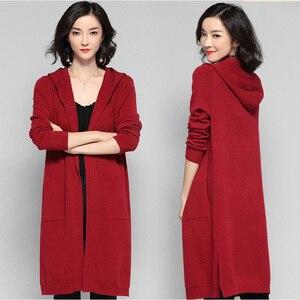 Image 3 - ארוך קרדיגן נשים סוודר חורף 2020 חדש מזדמן סתיו ארוך שרוול סרוג קימונו קרדיגן עם ברדס נשי גדול מעיל מעיל