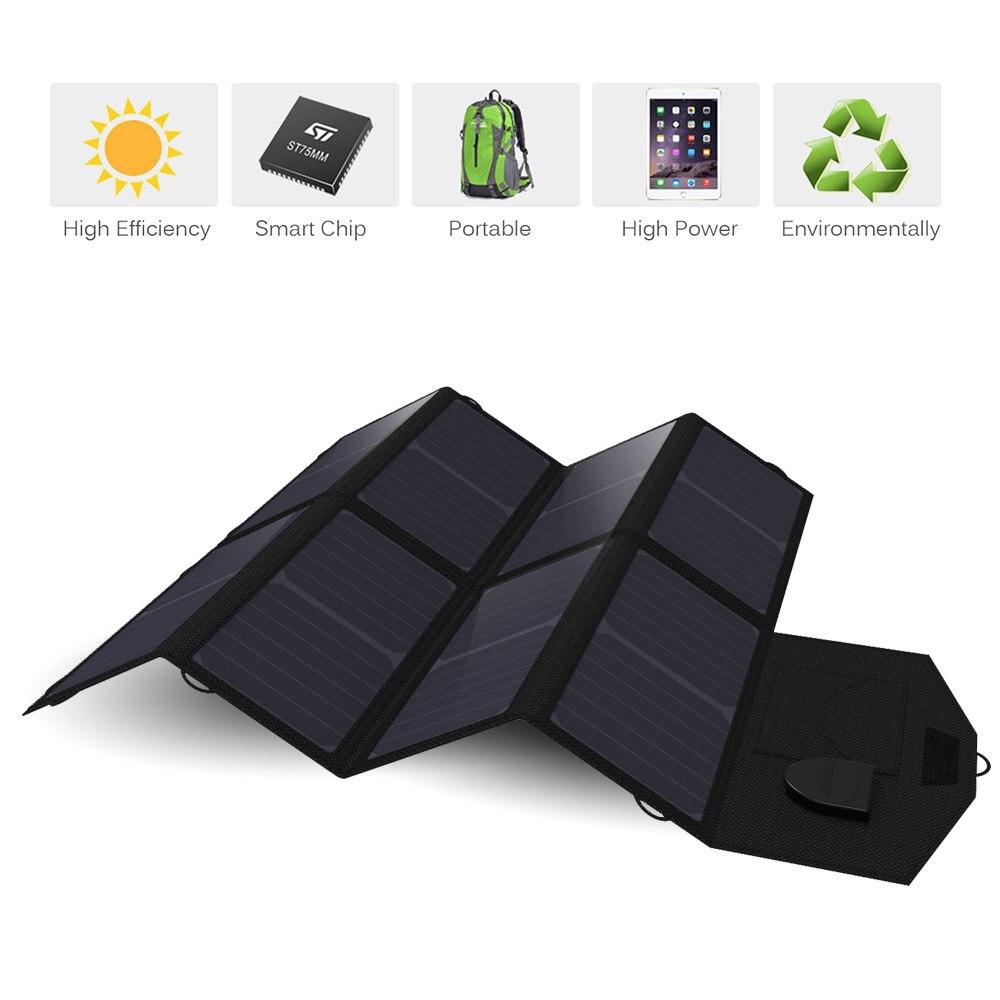 Panneau solaire 40 w 5 v 12 v 18 v Portable Pliable Panneau Solaire Chargeur pour iPhone iPad Macbook Cellulaire téléphone De Voiture Batterie Camping En Plein Air