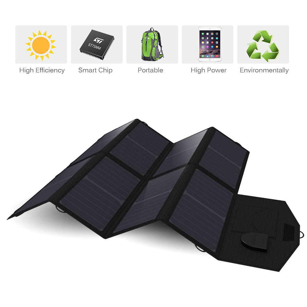 Solar Panel 40W USB+DC Dual Output Solar Panel Charger for iPhone iPad Macbook Samsung Sony VAIO Dell HP Acer Lenovo Asus etc.
