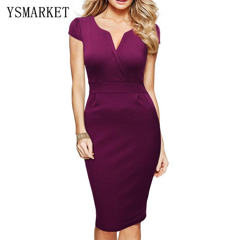 Women Office Dress Purple Slim Short