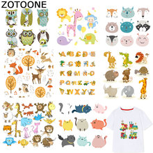 ZOTOONE Letter Patches Animal Stickers Iron on For Kids Transfers for Clothes T-shirt Heat Transfer DIY Accessory Appliques F1