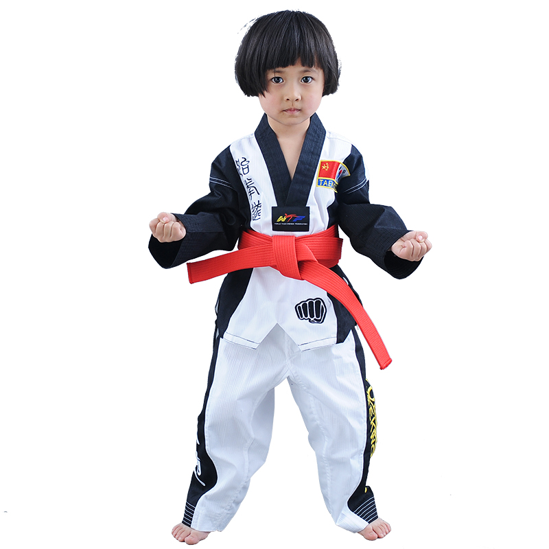 Top Grade colourful Taekwondo uniform Red Black WTF tae kwon do clothes Red karate dobok Chromatic TKD V-neck suit for kids ...