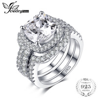 JewelryPalace Cushion 5ct 3 Pc Wedding Band Stackable Halo Solitaire Engagement Ring Bridal Sets 925 Sterling Silver Jewelry