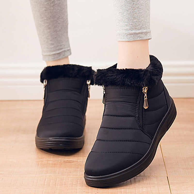 Зимние ботинки; Женская водонепроницаемая теплая обувь из хлопка и плюша; Женские однотонные зимние ботинки на плоской платформе с молнией; zapatos mujer