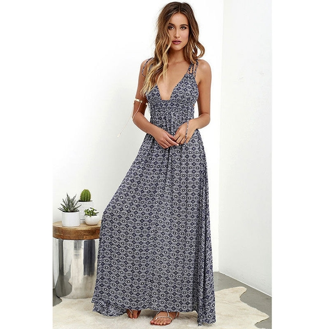 e49842a3fe7 Fashion Women s Boho Long Maxi Dress Floral Vintage Summer Evening Party  Beach Sundress Womens Clothes