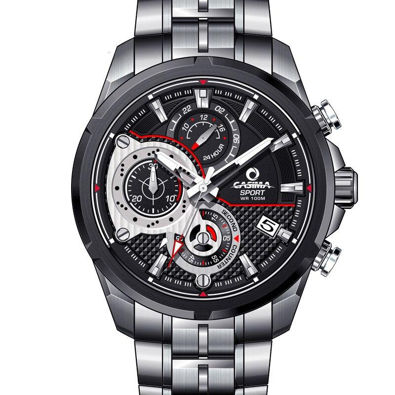 Mode hommes montre en acier inoxydable quartz-montre de sports de plein air chronographe chronomètre étanche 100 m hommes horloge CASIMA #8303