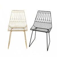 100% Металл стали стул отдыха железной проволоки стул с открытой спиной золото обеденный стул из металла Гостиная мебель подразумевает подуш