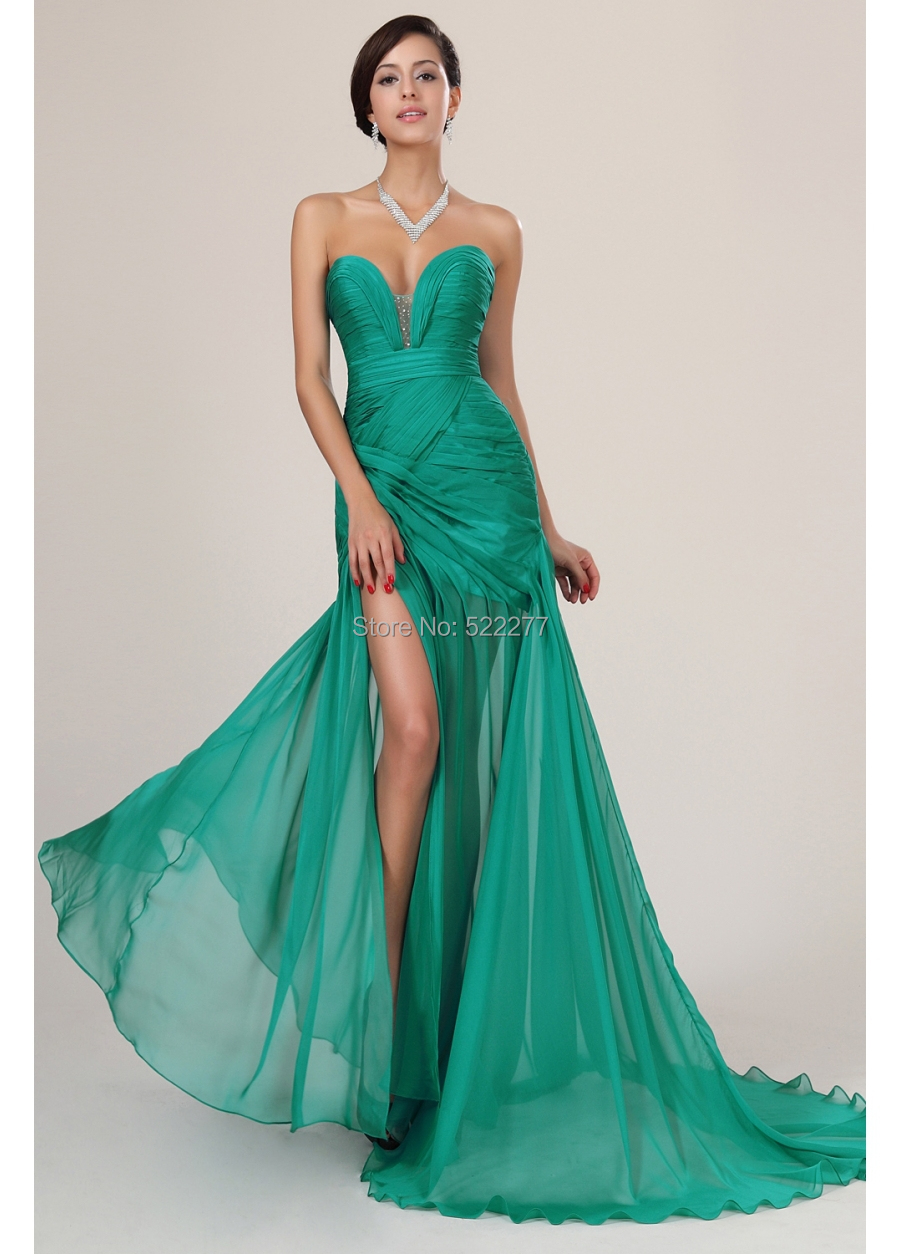 Elegant Long Green Silk Chiffon Celebrity Evening Dresses Prom Gown ...