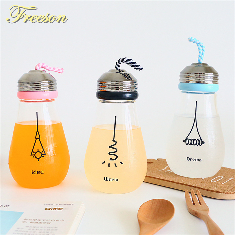 Cute Funny Bulb Water Bottle with Lid Sleeve Creative Kawaii Bike Sport Glass Bottle Gir ...