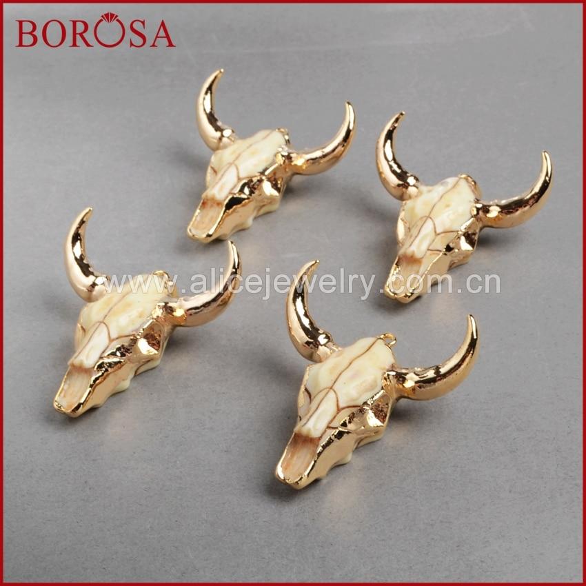 BOROSA Moda cabeza de búfalo grano, color oro Bull Cattle Charm Bead Longhorn Resina Cuerno de ganado colgante para joyería G842