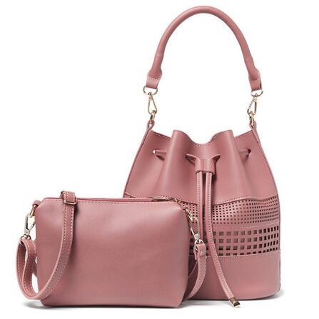 ФОТО 2017 Women Shoulder Bag Drawstring Bucket Bag Crossbody Messenger Handbag Hollow Out Handbags Composite Bags bolsa feminina
