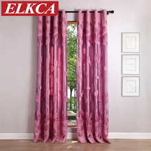 2 Layer Leaves Burnout Tulle Curtains for Bedroom Luxury Window Curtains for Living Room Faux Silk