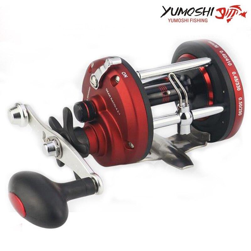 YUMOSHI nouveau Kit à main droite Pesca moulinet de pêche ronde en eau salée moulinet de pêche 12BB 5.2: 1 moulinet de carpe à la traîne