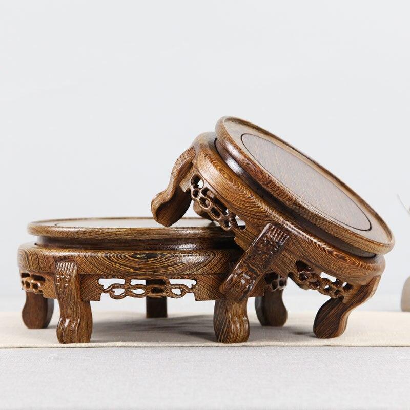 Wenge bois massif sculpture artisanat vase ornements bloc de bois plancher base circulaire bonsaï bouddha aquarium base