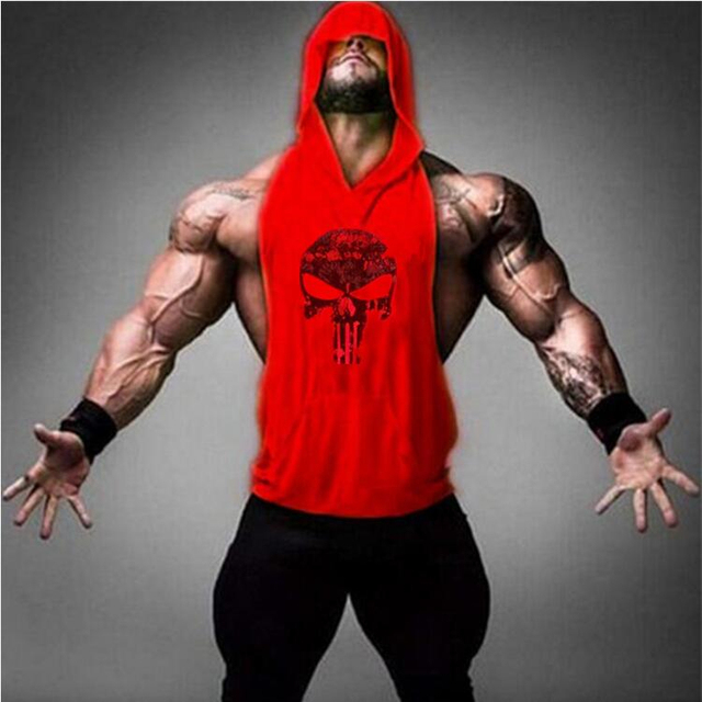 Skull Bodybuilding Stringer Tank Tops men Gyms Stringer Shirt Fitness Tank Top Men Gyms Clothing Cotton Vest hoodies 2