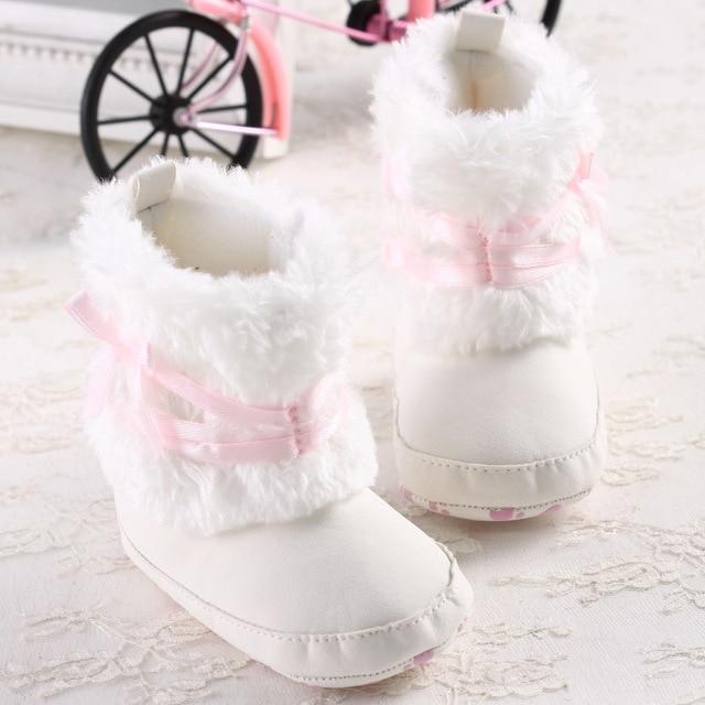 New Fashion Lovely Pink Bow Winter Super Warm Newborn Baby Kid Bebe Prewalker Shoes Princess Girl Crib Keep Warm Boots Booties