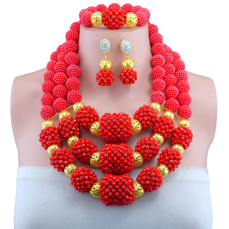 Luxury Red Crystal Beaded Bib Chunky Jewelry Set Full African Big Jewelry Sets for Nigerian Wedding