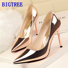 Show Thin Womens OL Office Shoes 2019 New Arrival Patent Leather Women Pumps Pointed Toe Shallow Fashion High Heels 10cm