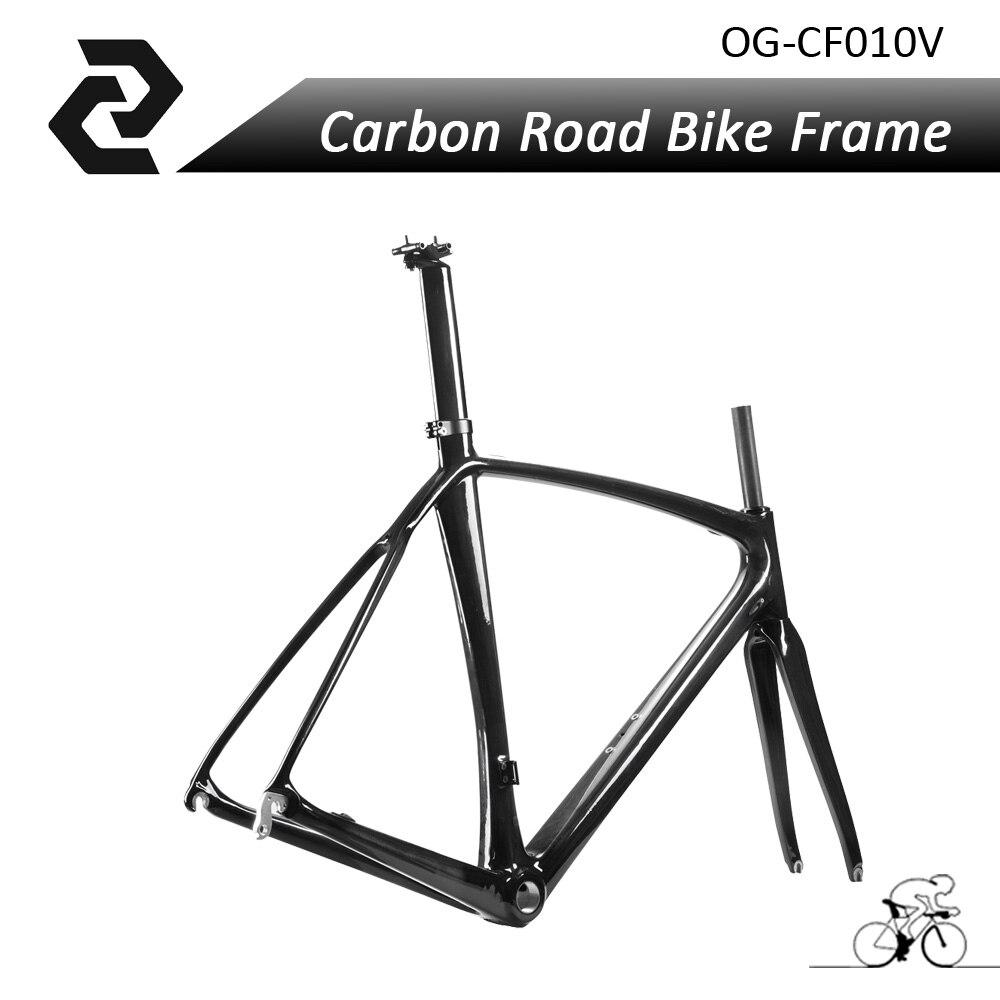 Carbon Fiber Europe Racing Road Bike Frame Bicycles BICICLETA Ciclismo Frameset Fork Seatpost Size 56CM UD Glossy BB68 V-brake цена и фото