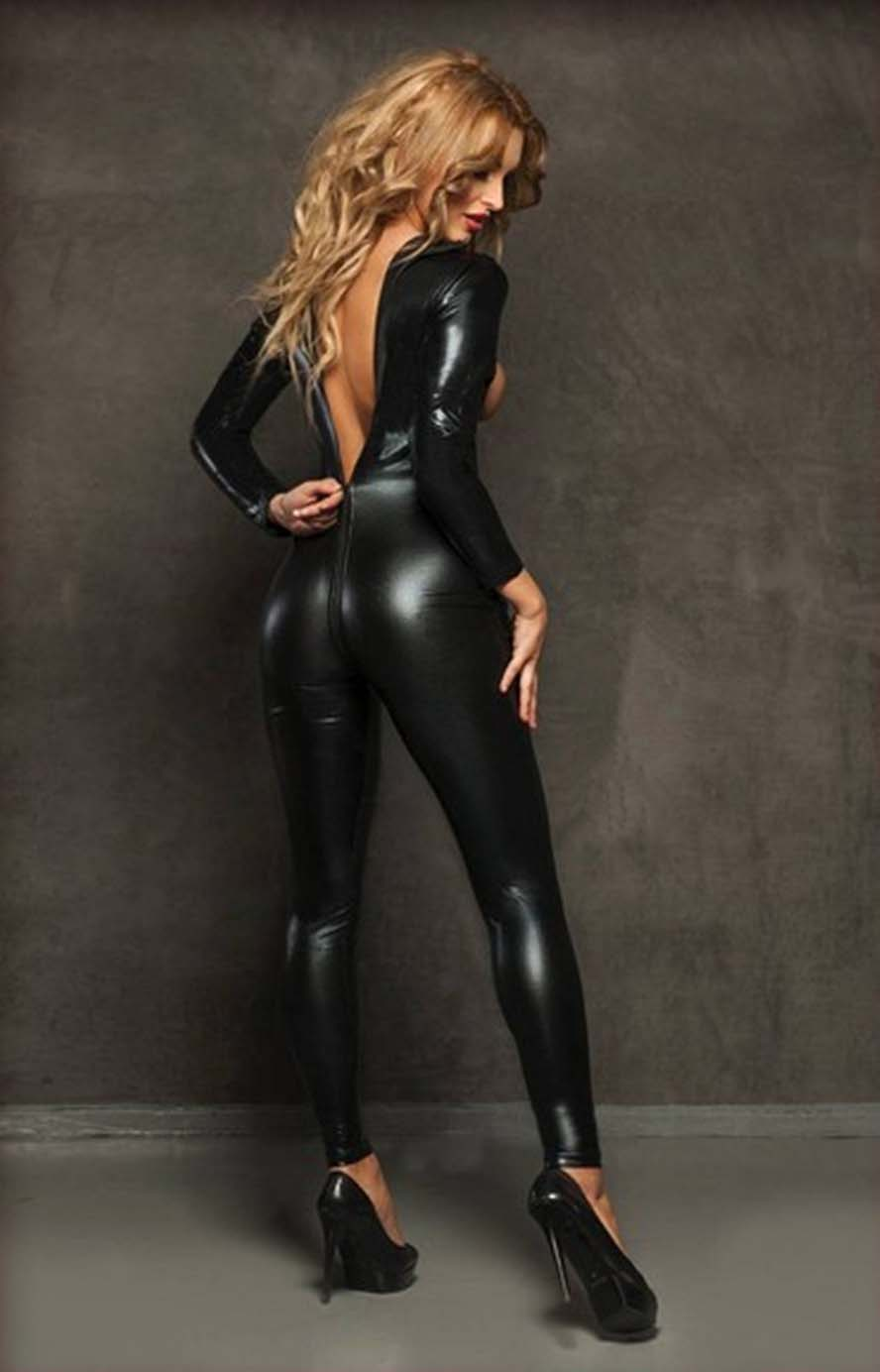 2017 Black Latex Bondage Catsuit Catwomen Sex Suit Bust -6832