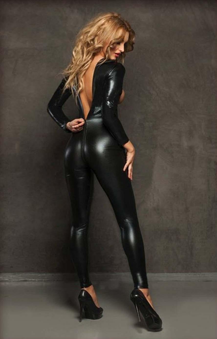 2017 schwarz Latex Bondage Catsuit Catwomen Sex Anzug