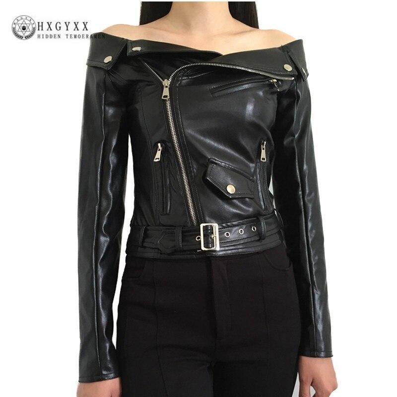 2019 Automne Femmes Faux veste en cuir De L'épaule Gothique Noir vestes de moto Courtes Fermetures Goth Femme PU Manteau Okd463