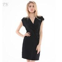 PK Summer Kimono Womens Dress Elegant Bodycon Vintage Dress Office Midi Party Dress V Neck Black