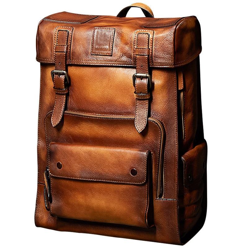 Sac à dos rétro de luxe en cuir de vache pour hommes sac à dos de grande capacité sacs pour ordinateur portable Collegebags Moto Biker sacs de jour Cool