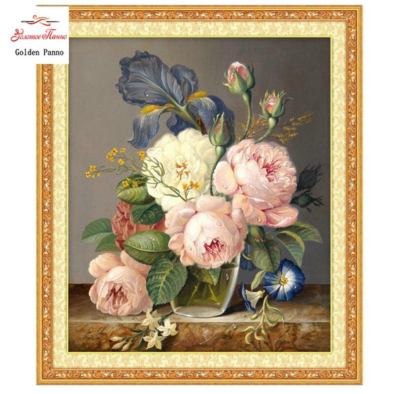 Arany pannó, Kézimunka, Hímzés, Díszes virágfestés, - Művészet, kézművesség és varrás