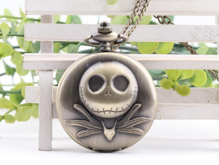 New Dropshipping The Nightmare Before Christmas 3D Jack Quartz Pocket Watch Analog Pendant Necklace Mens Womens Christmas Gifts