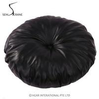 SewCrane PU Leather Black Seating Functional Cushion Round Floor Cushion Floor Pillow