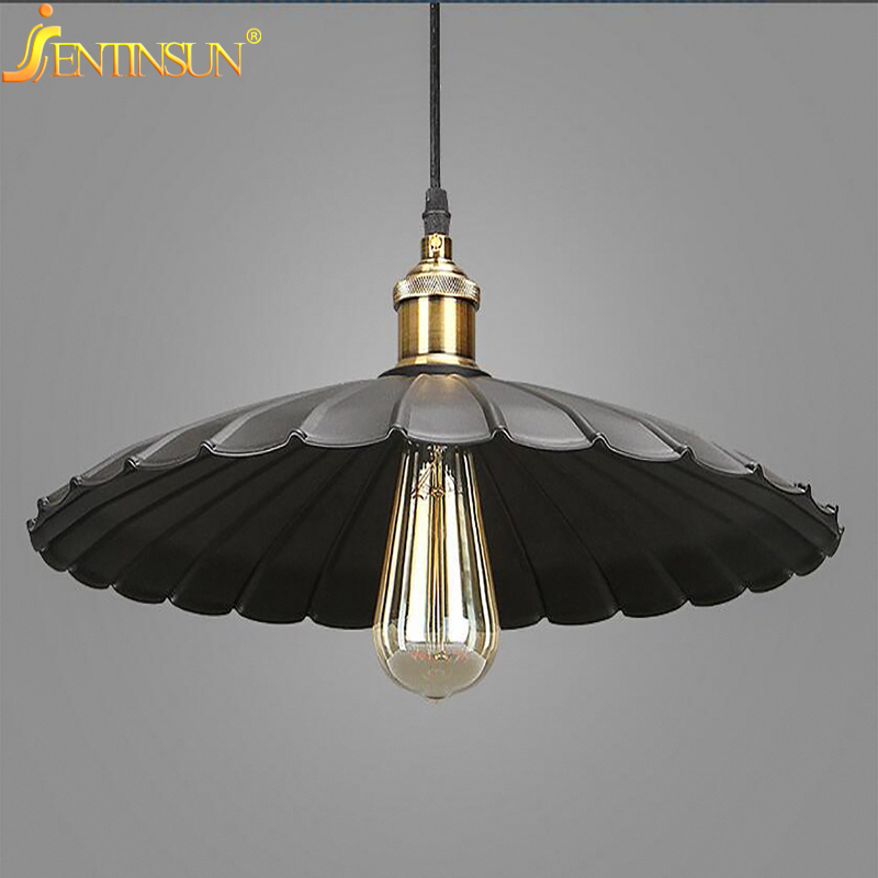 Vintage Black Umbrella Shape Pendant Lights America Style Edison Bulb Light Lamp Metal Industrial Retro LED Hanging Lamps