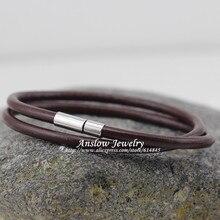 LOW0112LB Новая мода ювелирные изделия горячая распродажа 4 мм Натуральная кожа очарование обертывание Мужской Магнитный браслет подарок