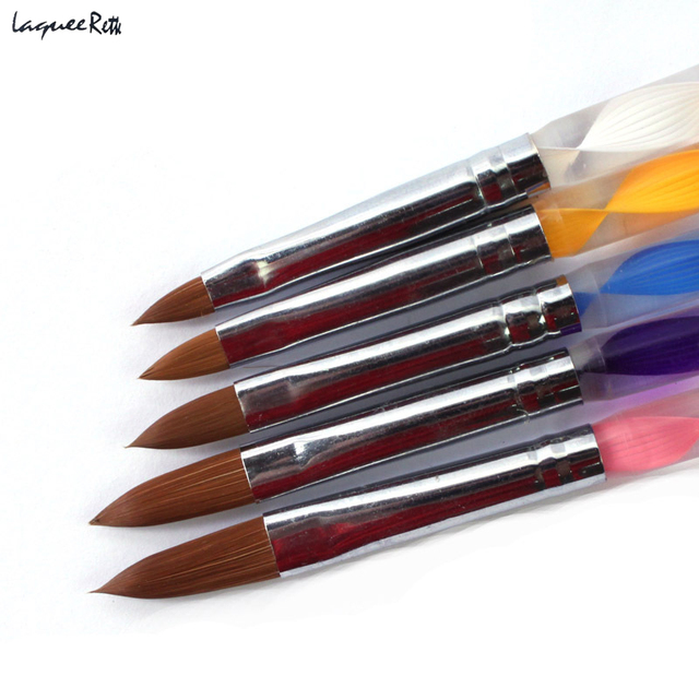Free Shipping 5 Pieces Five Size High Quality Professional Acrylic Liquid For Nail Art  Pen Brush UV Gel Nail Acrylic Powder