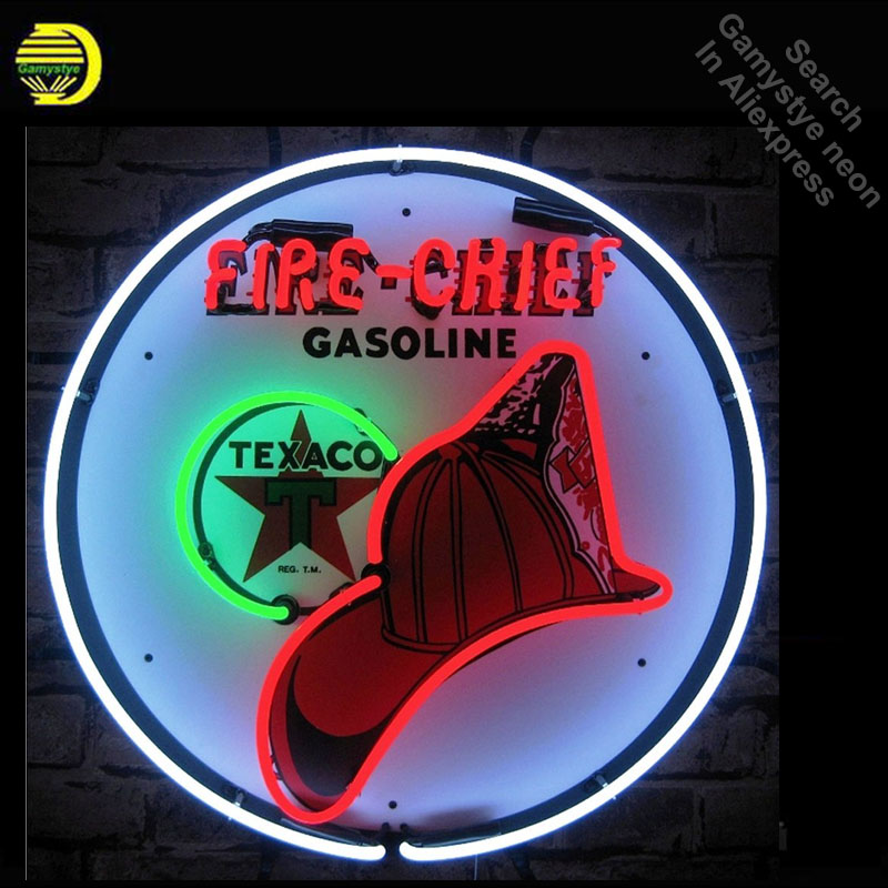 Neon Sign for 5TXFIR Texaco Fire Chief Gasoline Neon Light Sign Store Display Pirate signs handcraft Publicidad lamps Custom