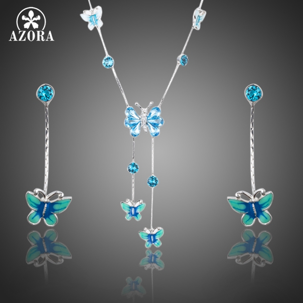 AZORA Elegant Stellux Austrian Crystal Butterfly Oil Painting Pattern Drop Earrings And Pendant Necklace Jewelry Set TG0190