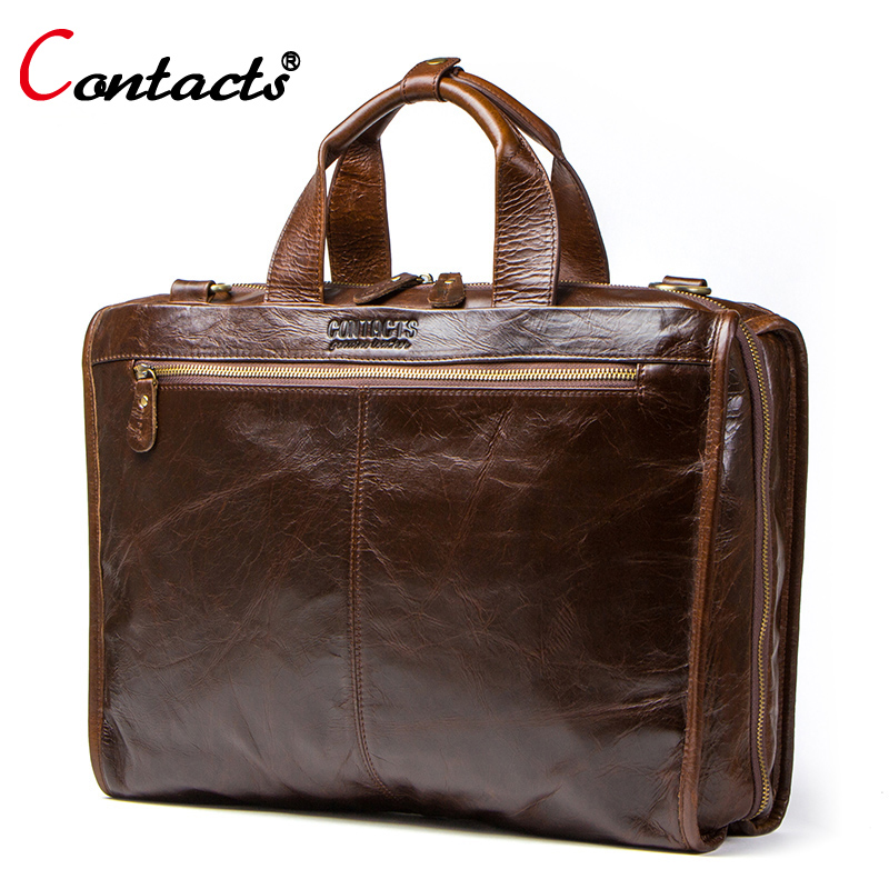 CONTACTS cowhide leather mens briefcase vintage man bag large capacity for 13.3 inch maletin man laptop bag men shoulder bagCONTACTS cowhide leather mens briefcase vintage man bag large capacity for 13.3 inch maletin man laptop bag men shoulder bag