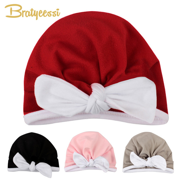 b3321bed6f1 Christmas Baby Hat for Girls Candy Color Baby Cap with White Bow Baby Girls  Hat Toddler