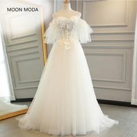 A Line white half sleeve lace wedding gown 2018 mariage plus size wedding dress boho real photo weddingdress vestido de noiva