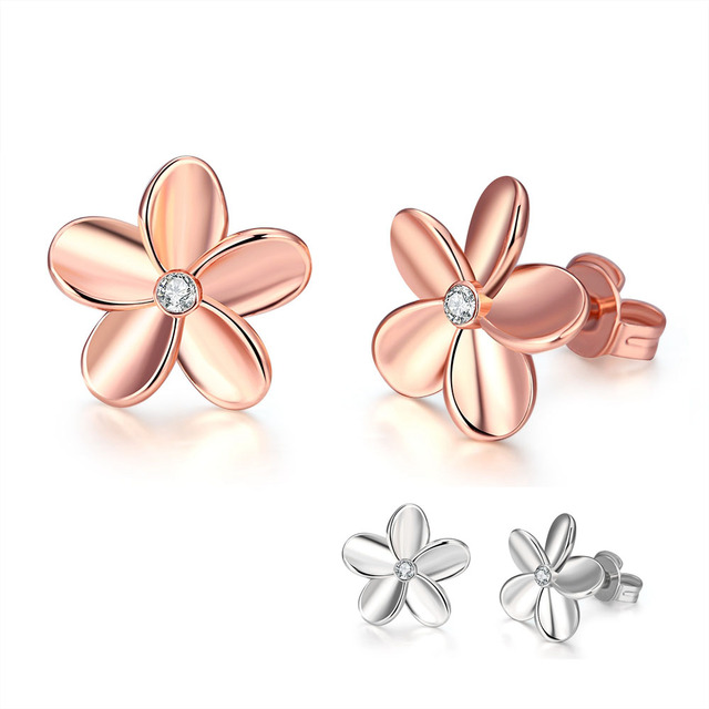 6290f1d0d Hypoallergenic Earrings Low Price Rose Gold Color Single Crystal Sweet  Flower Stud Earrings Czech Drill Jewelry Women Party