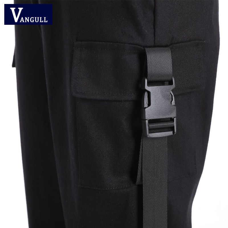 Vangull 2019 Lente Streetwear Cargo Broek Vrouwen Casual Joggers Zwarte Hoge Taille Broek Losse Vrouwelijke Broek Dames Broek Capri