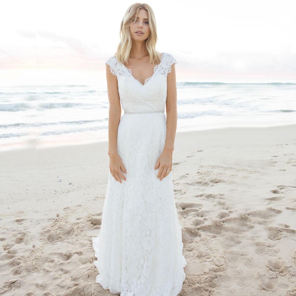 Deep V-neck Bohemian Wedding Dresses With Open Back Romantic Cap Sleeves Lace Bridal Gown Mermaid Vestidos De Novia 2020