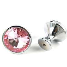 30mm Crystal Glass Diamond Shape Cabinet Knob Drawer Pull Handle Faceted Clear Glass Furniture Hardware Cupboard Door Knobs Pink